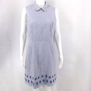 BROOKS BROTHERS Dress 8 Blue White Pinstripe
